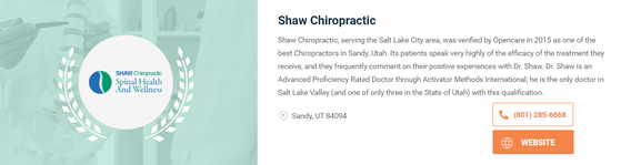 shaw chiropractic rated best chiropractor in salt lake city